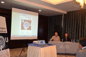 Prof. Li Narangoa introducing former Mongolian Ambassador to Australia, Batbold.