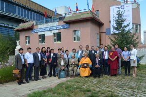 Group photo outside The Museum of Mongolian Traditional Medicine, Ulaanbaatar, Mongolia.